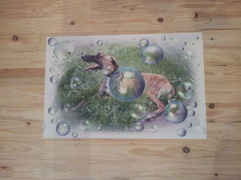 abwaschbare Unterlage - Windhund-Motiv, ca. 46x30cm)